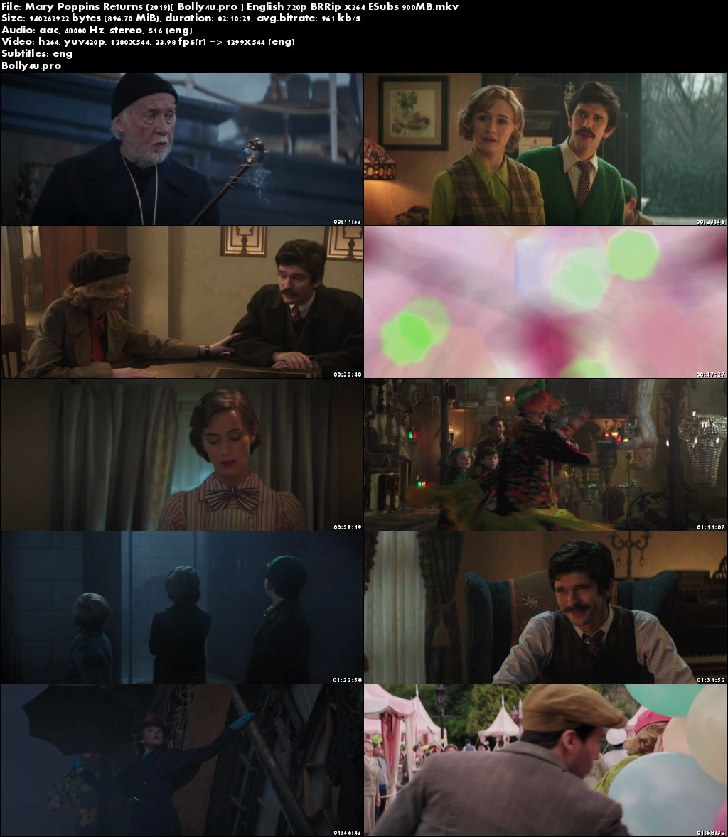 Mary Poppins Returns 2019 BRRip 350MB English 480p ESub Download