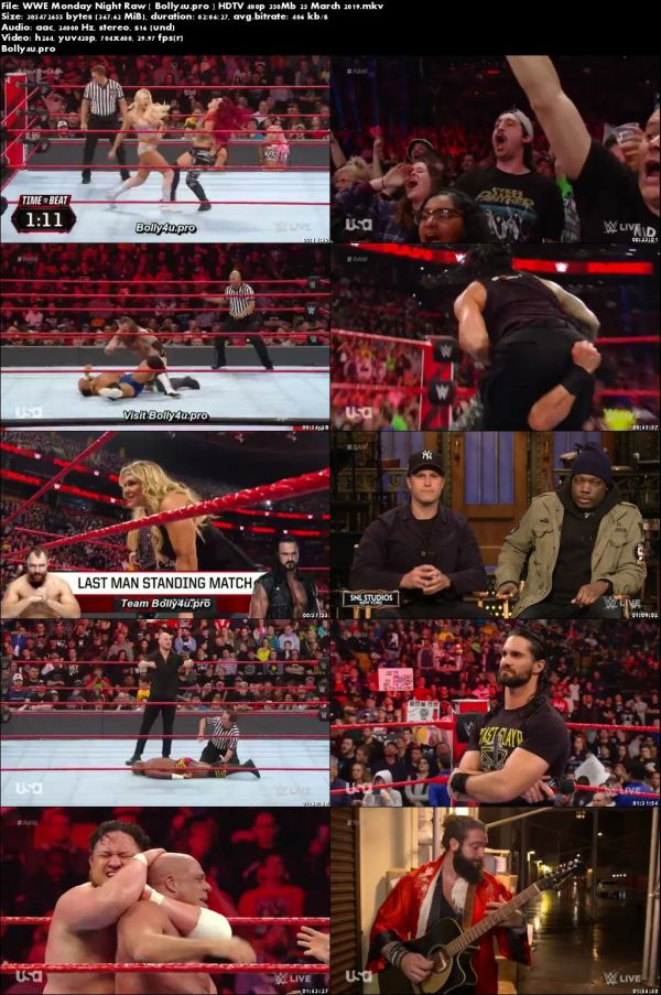 WWE Monday Night Rraw HDTV 480p 350MB 25 March 2019 Download