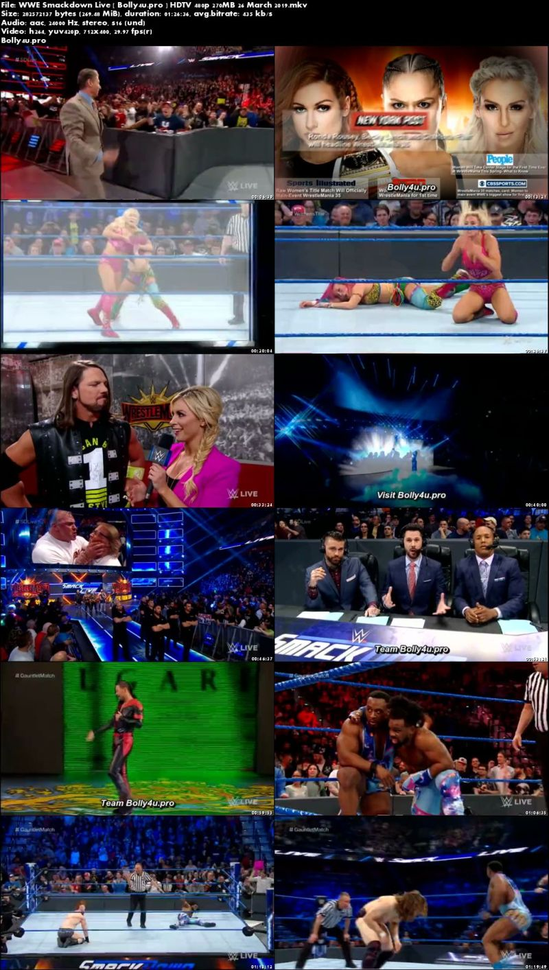 WWE Smackdown Live HDTV 480p 270MB 26 March 2019 Download