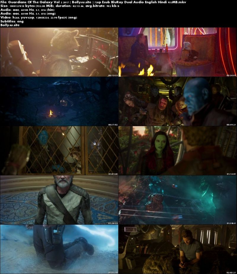 Guardians Of The Galaxy Vol 2 2017 BluRay 950MB Hindi Dual Audio 720p Download
