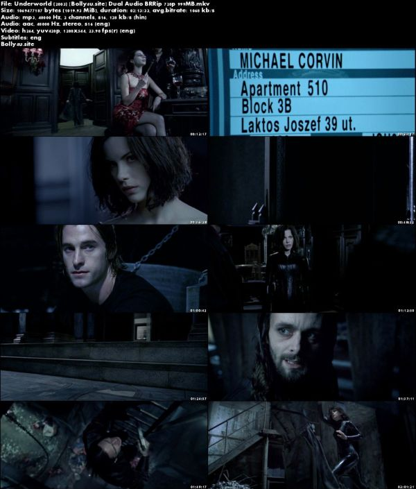 Underworld 2003 BRRip 999MB Hindi Dual Audio 720p Download