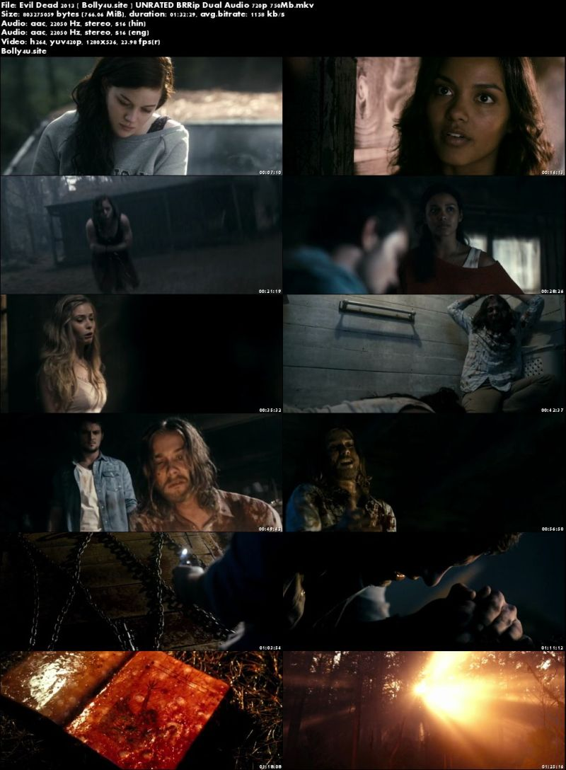 Evil Dead 2013 BRRip 750MB UNRATED Hindi Dual Audio 720p Download