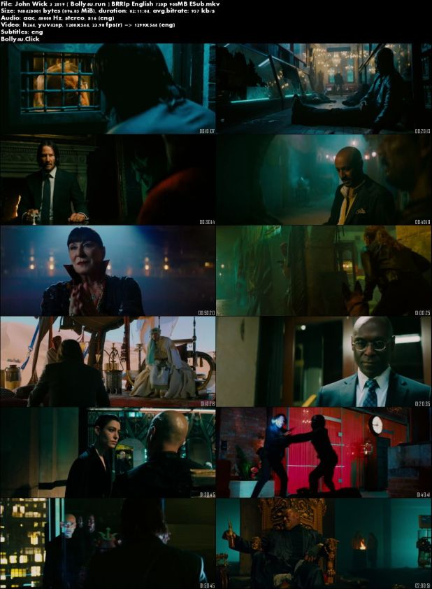 John Wick 3 2019 BRRip 300Mb English 480p ESub Download