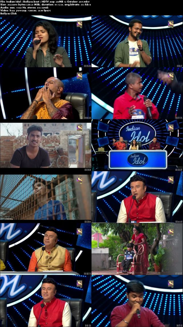 Indian Idol HDTV 480p 250MB 12 October 2019 Download