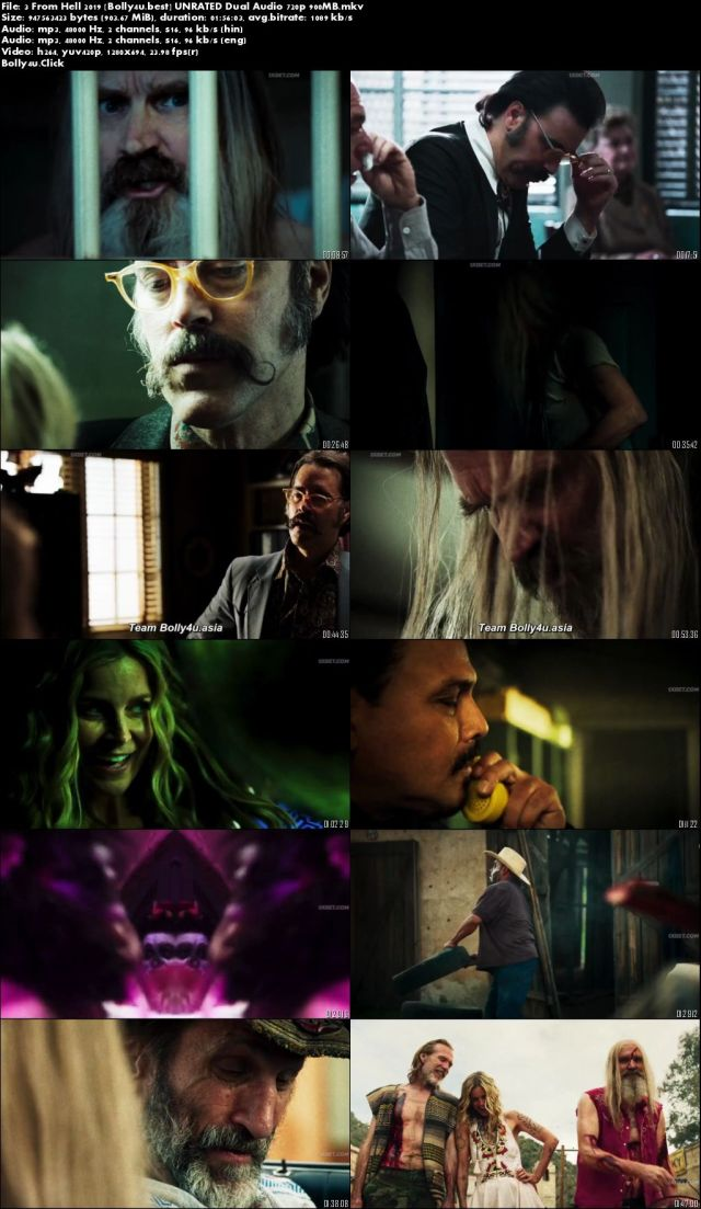 3 From Hell 2019 WEB-DL 900MB UNRATED Hindi Dual Audio 720p Download