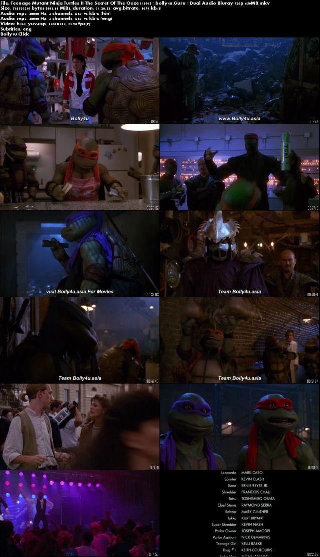 Teenage Mutant Ninja Turtles II The Secret Of The Ooze 1991 BRRip 650MB Hindi Dual Audio 720p Download