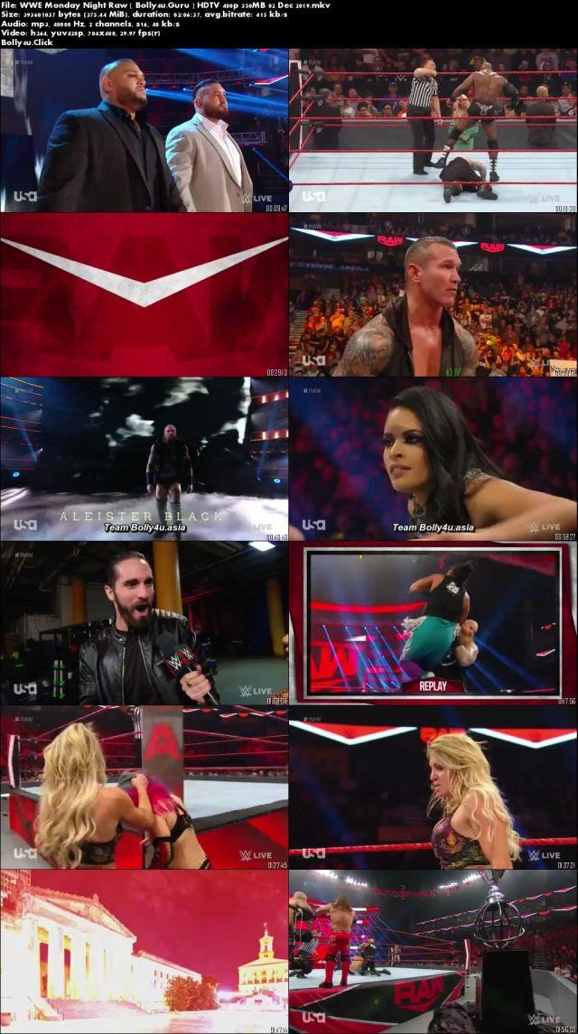 WWE Monday Night Raw HDTV 480p 350MB 02 Dec 2019 Download