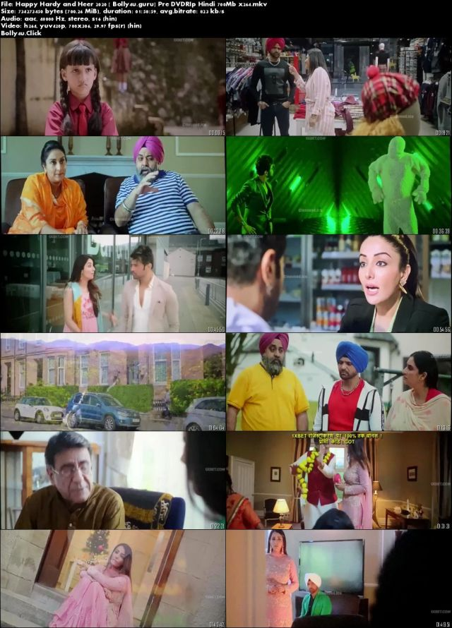 Happy Hardy and Heer 2020 Pre DVDRip 700Mb Hindi x264 Download