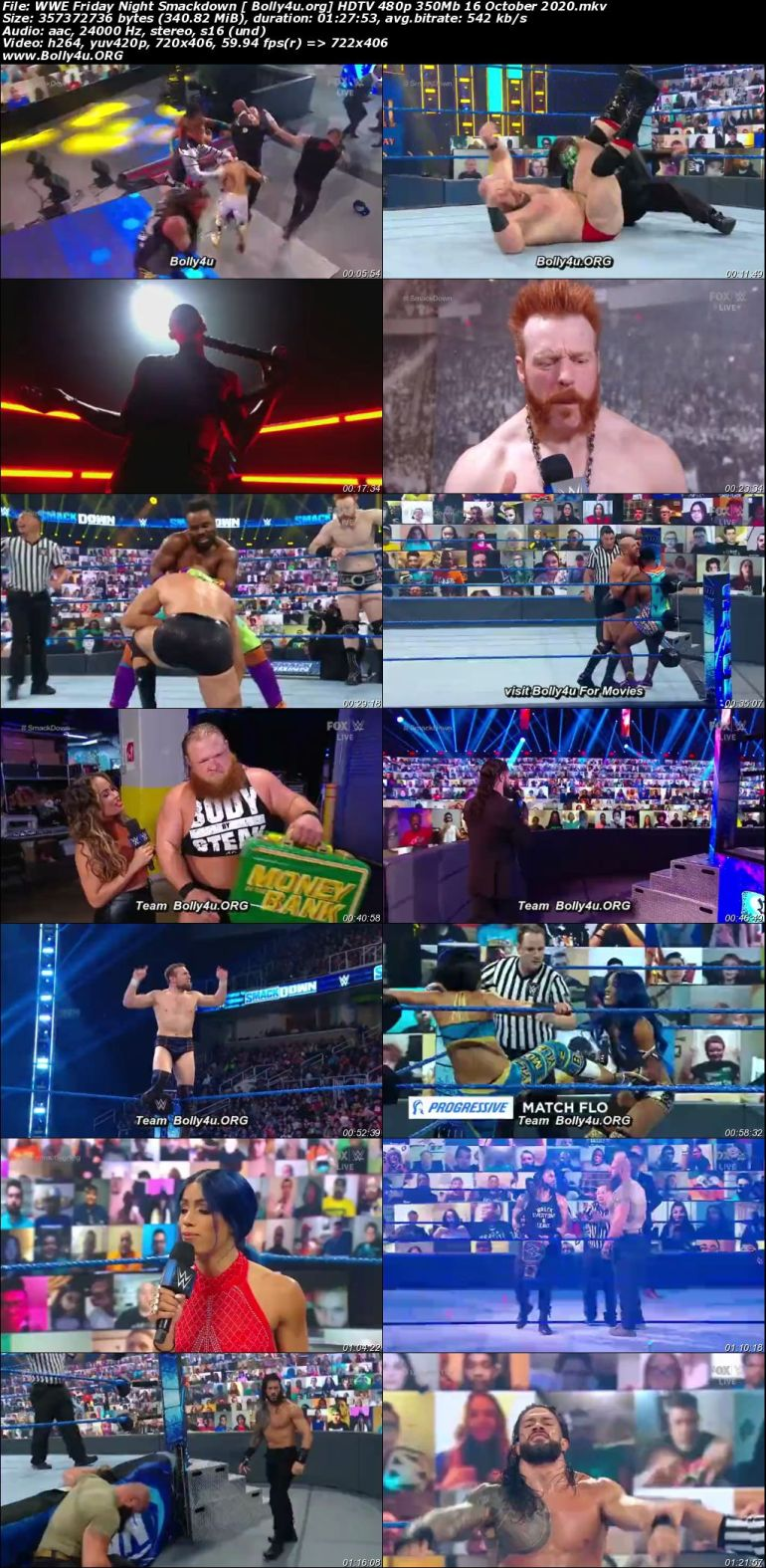 WWE Friday Night Smackdown HDTV 480p 350Mb 16 October 2020 Download