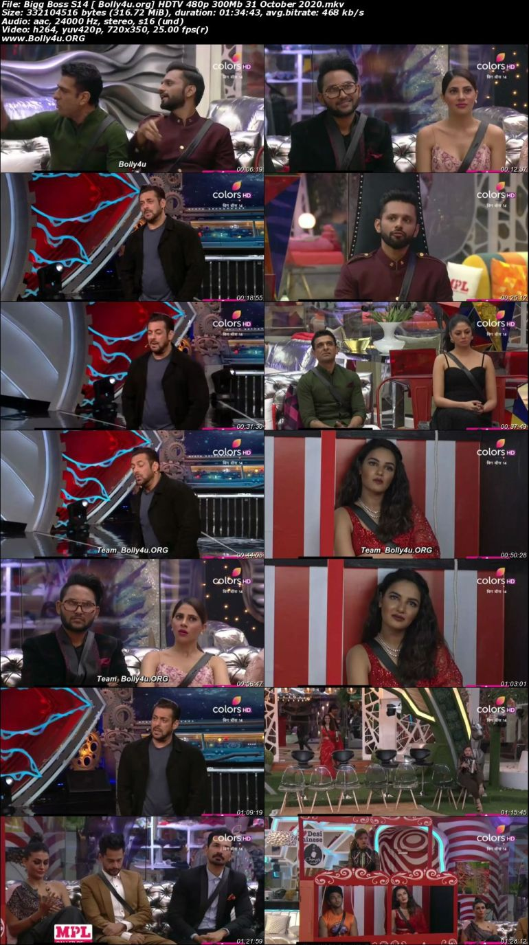 Bigg Boss S14 HDTV 480p 300Mb 31 October 2020 Download