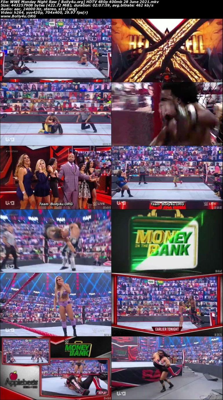 WWE Monday Night Raw HDTV 480p 400mb 28 June 2021 Download