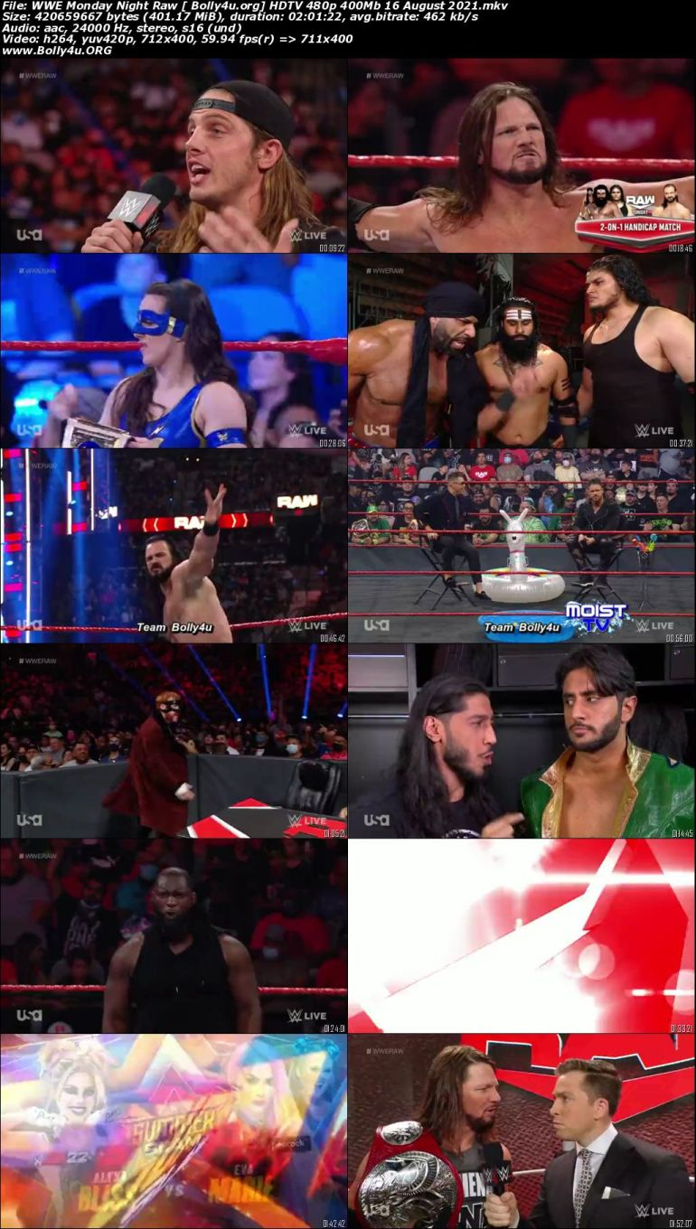 WWE Monday Night Raw HDTV 480p 400Mb 16 August 2021 Download