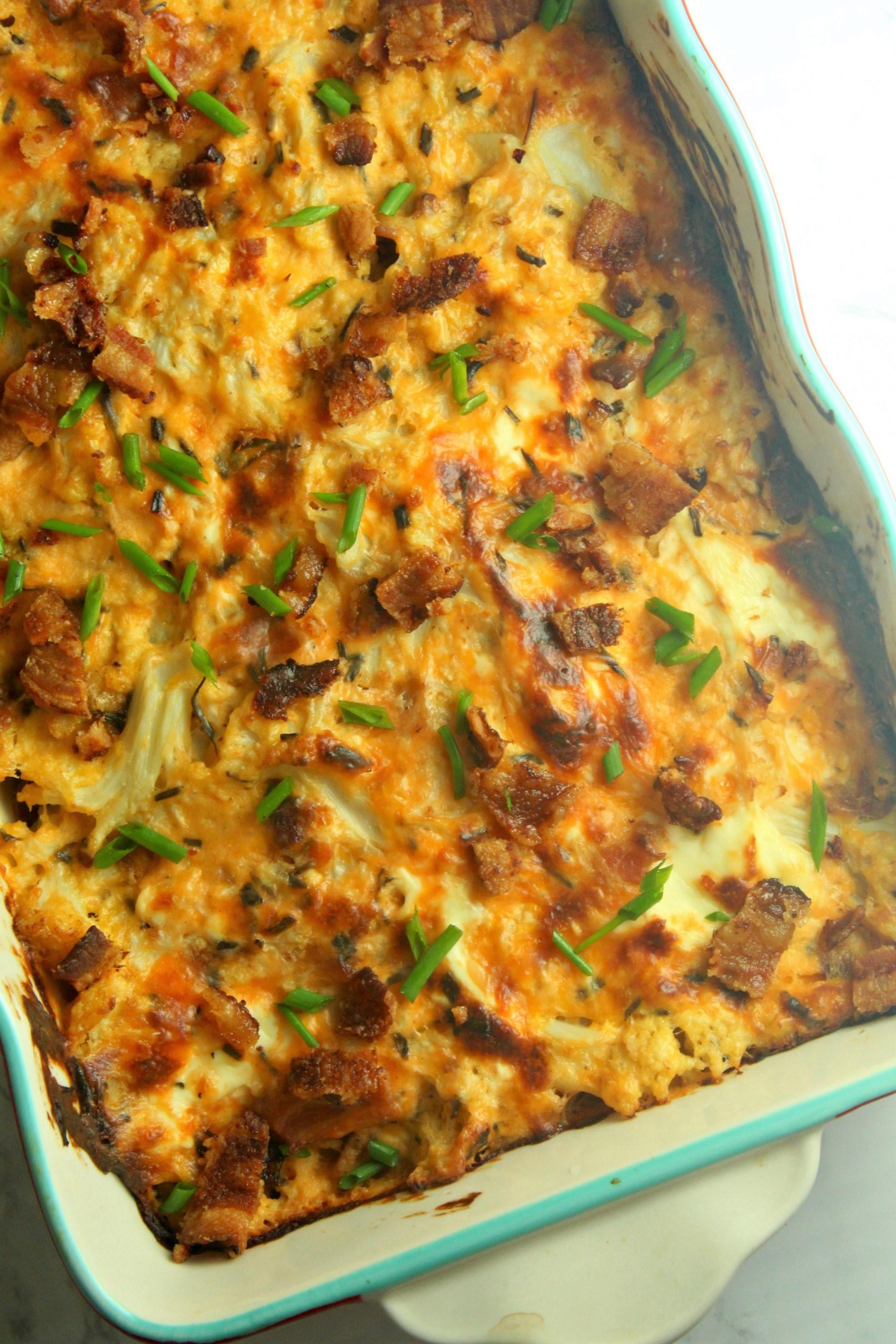 Loaded Cheesy Cauliflower Casserole Low Carb