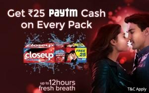 Closeup Paytm Cash Offer