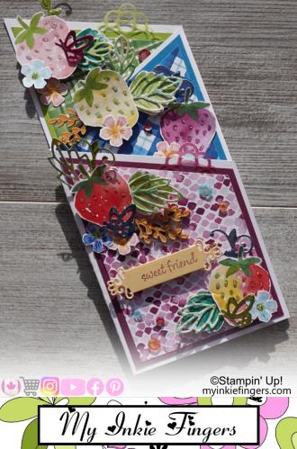 Cascade Slimline Card - Sweet Strawberry - My Inkie Fingers