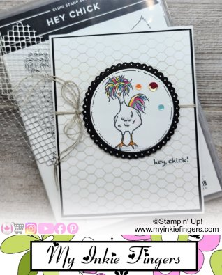 Hey Chick Rainbow Colored Card My Inkie Fingers