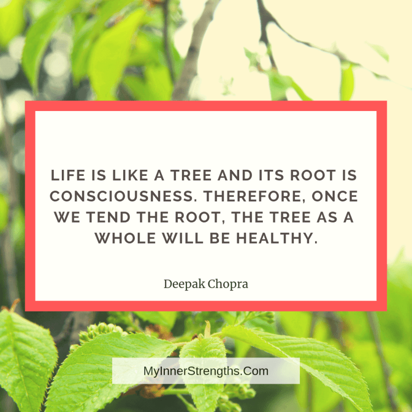 Health Affirmations and quotes My Inner Strengths4 1 Life is like a tree and its root is consciousness. Therefore, once we tend the root, the tree as a whole will be healthy.