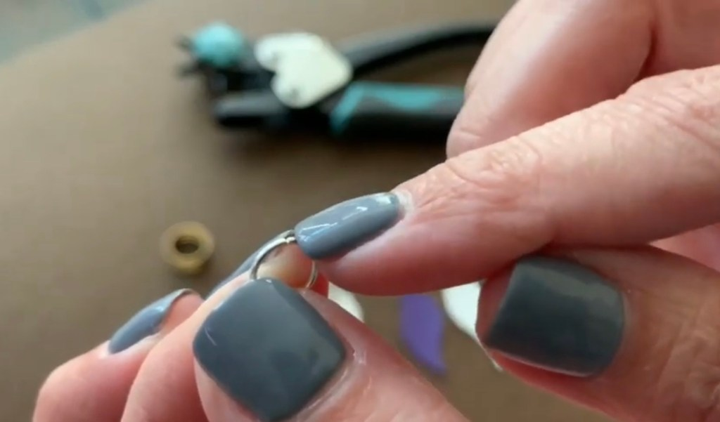 Putting faux leather earrings together