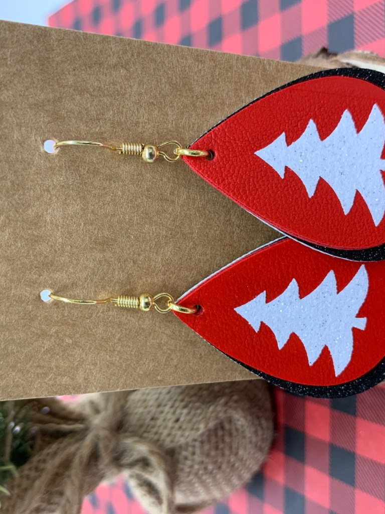 Leather Cut Out Tree Earrings