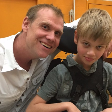 Keith McArthur and his son Bryson on the first day of school 2017. Bryson has GRIN1, a rare genetic condition.