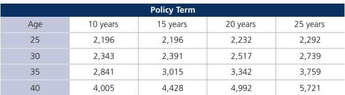 Kotak Term Plan - Premium Chart