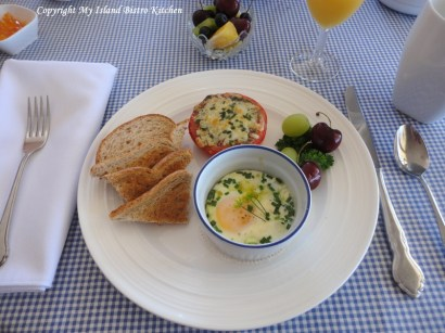 Baked Eggs with Basil Pesto and Cheese