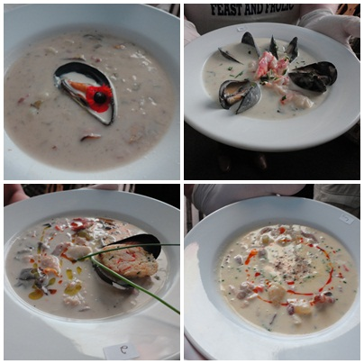 Some of the entries in the seafood chowder challenge at the PEI Shellfish Festival (2012)