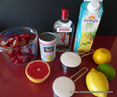 Ingredients for Rhubarb Slush