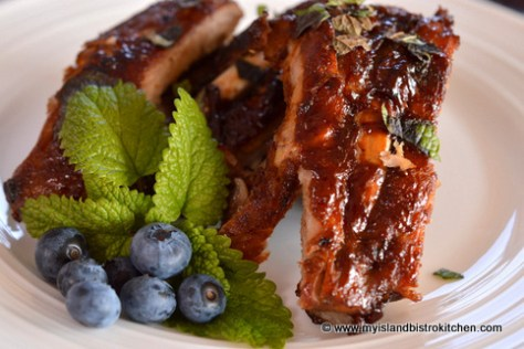 Blueberry Barbeque Sauce on Pork Ribs