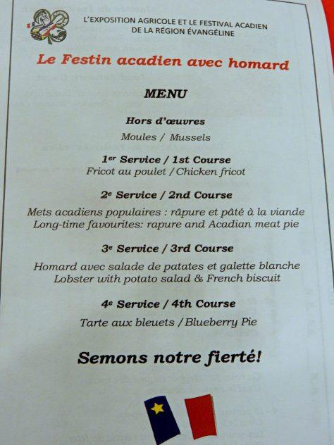 Menu for 2016 Le Festin acadien avec homard