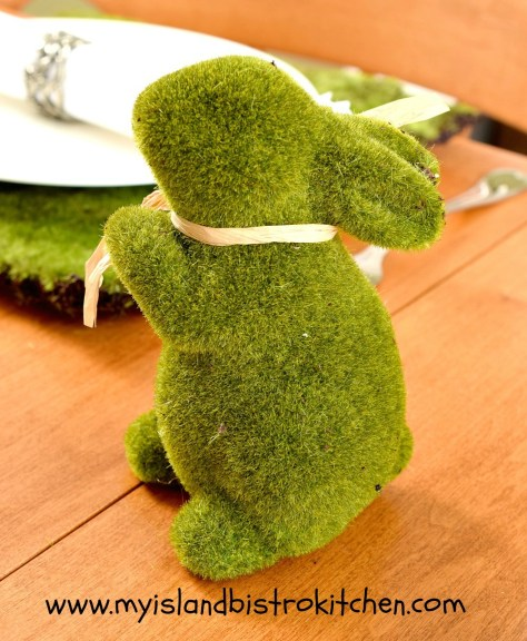 Green Faux Moss Bunny