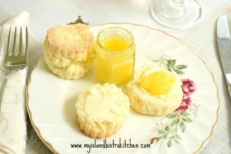 Lemon Curd on Biscuits