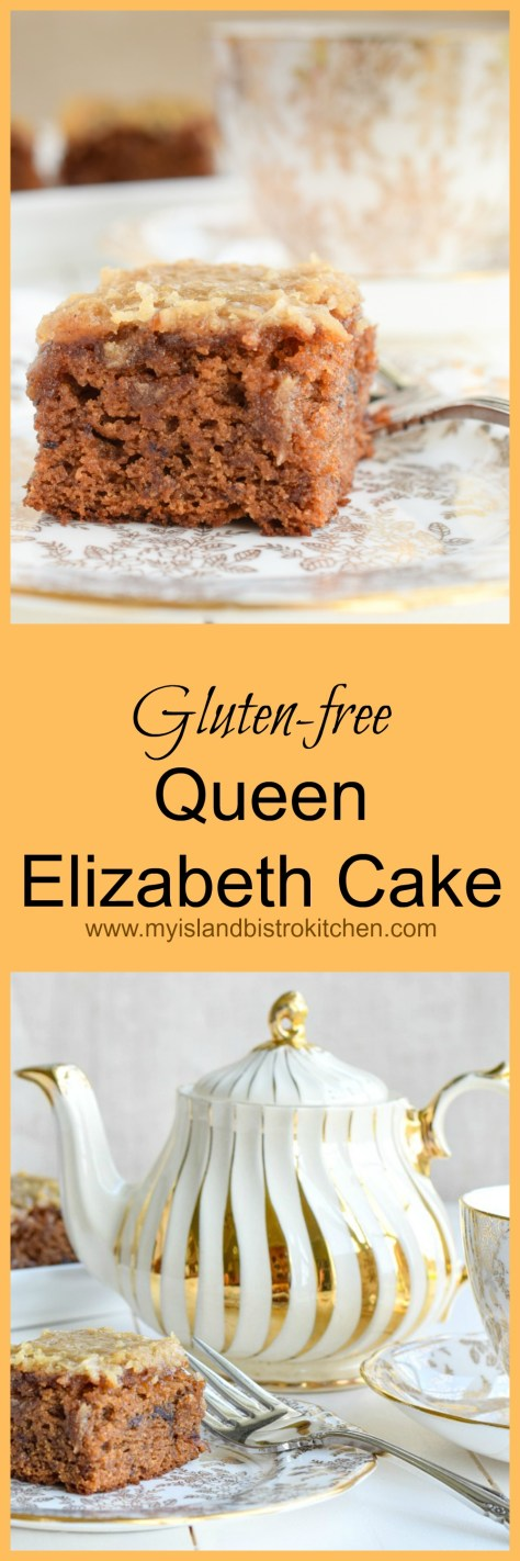 This gluten-free Queen Elizabeth Cake features dates, spices, and a delectable toffee-like topping
