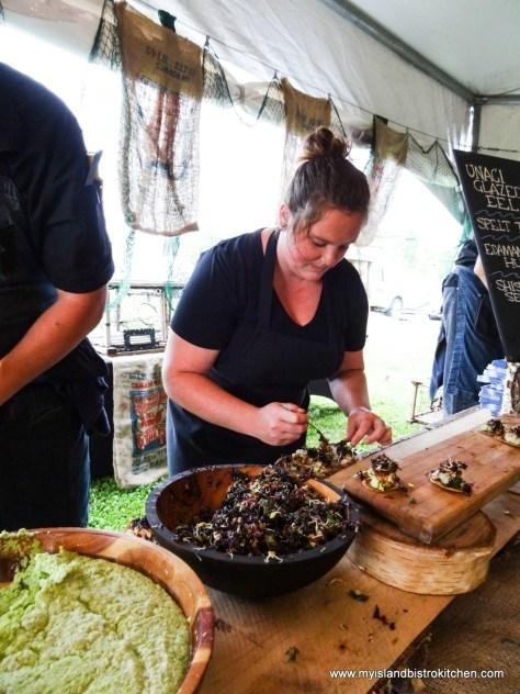 "Making Eel Tacos at ""Taste of Georgetown"" event"