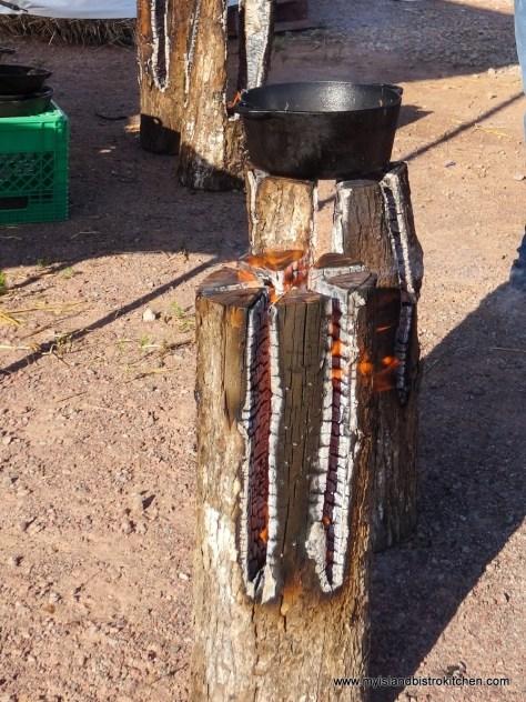 Cooking Potatoes Over an Log Fire