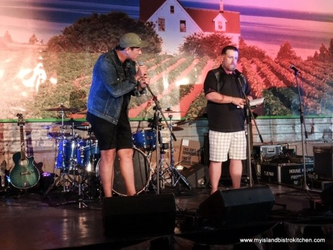 Celebrity Chef Chuck Hughes (left) and MC Rob Berry (right) at Toes, Taps & Taters PEI Fall Flavors Culinary Festival Event (2017)