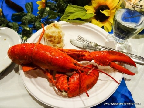 PEI Lobster served with homemade Potato Salad (at the Le Festin acadien avec homard event, PEI Fall Flavours Festival 2017)