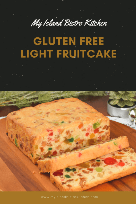 Gluten Free Light Fruitcake studded with glazed fruit and flavored with brandy