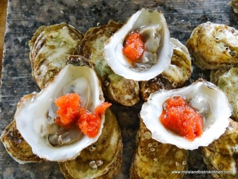 Shucked PEI Oysters Served with Bloody Mary Ice