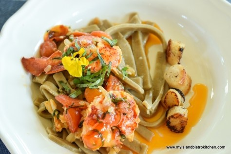 Homemade Pasta Topped with Lobster and Scallops at The Table Culinary Studio in New London, PEI