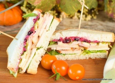 Turkey, Pear, Brie, and Cranberry Sandwich