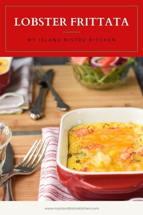 Baked Lobster Frittata in red baking dish