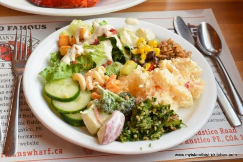 Plate of different salads at Fisherman's Wharf Lobster Suppers