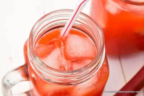 Strawberry Rhubarb Lemonade in glass jar