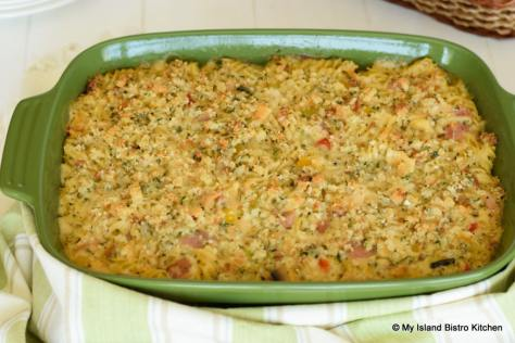 Large casserole made with pasta, chicken, and ham