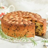 A slice of Dundee Cake