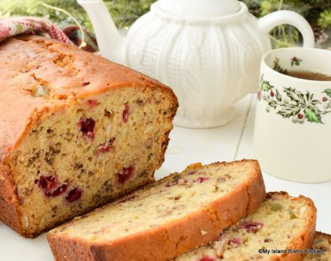 Quick Bread studded with cranberries, mixed peel, pecans, and orange zest