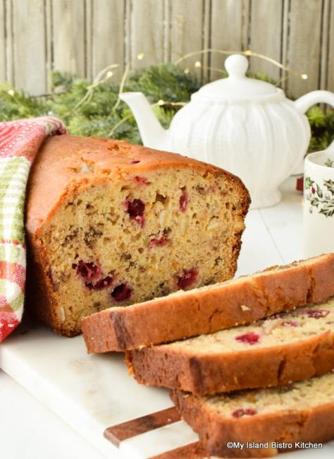 Quick bread studded with ranberries, mixed peel, citron, and pecans