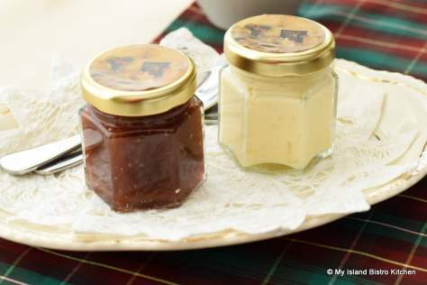 Jars of Rhubarb Marmalade and Clotted Cream