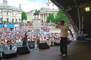 Performing at Trafalgar Square, London